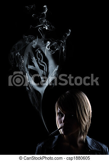 young women smokes and in the smoke appears a smoking forbidden sign - csp1880605