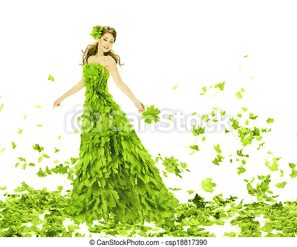Fantasy beauty, fashion woman in seasons spring leaves dress. Creative beautiful girl in green summer gown, over white background.