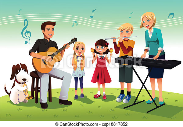 Family Playing Together Clipart Family playing music -