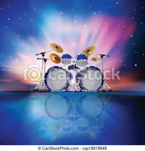 abstract music background with sunrise and drum kit - csp18818648
