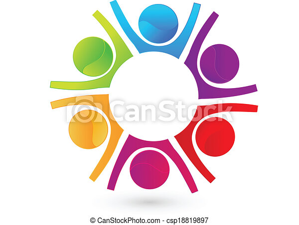 Teamwork happy business people logo - csp18819897