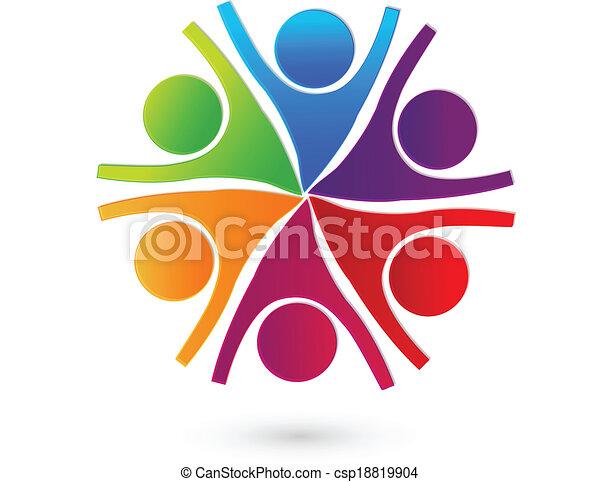Teamwork cooperative people logo - csp18819904