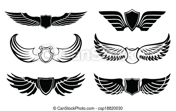 Vectors of Abstract feather wings pictograms set - Abstract ...