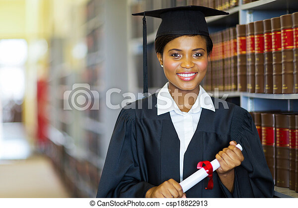 pretty african university law school graduate - csp18822913