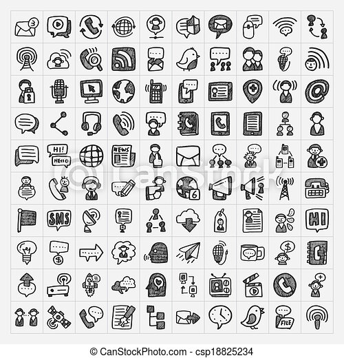 doodle communication icons set - csp18825234