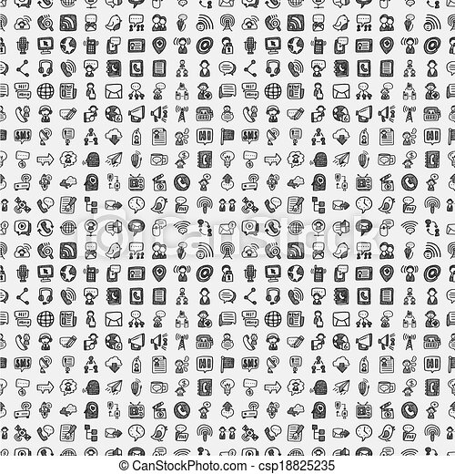 seamless doodle communication pattern - csp18825235