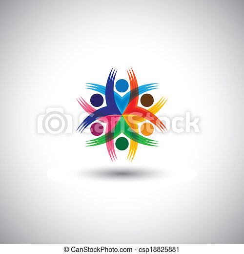happy colorful employees & executives unity & diversity - vector graphic. This illustration also represents students community, workers union, children playing, excited people, friendship, meetings - csp18825881