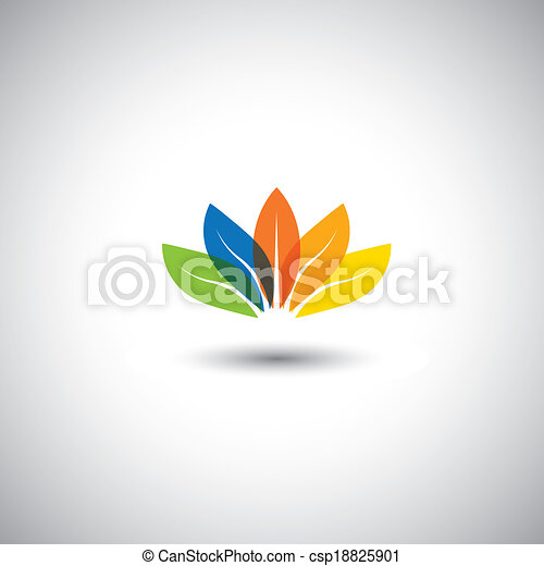 multicolored beautiful spring time floral blossom - vector graphic. This illustration also represents petals of flower arranged together and in red, orange, blue, green & yellow colors, lotus flower - csp18825901