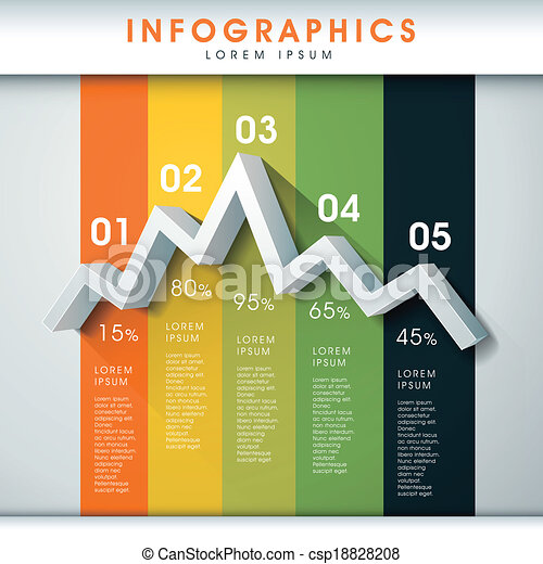 abstract line chart infographics - csp18828208