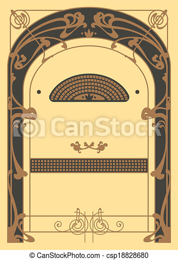 Art Nouveau Backgrounds and Frame - csp18828680