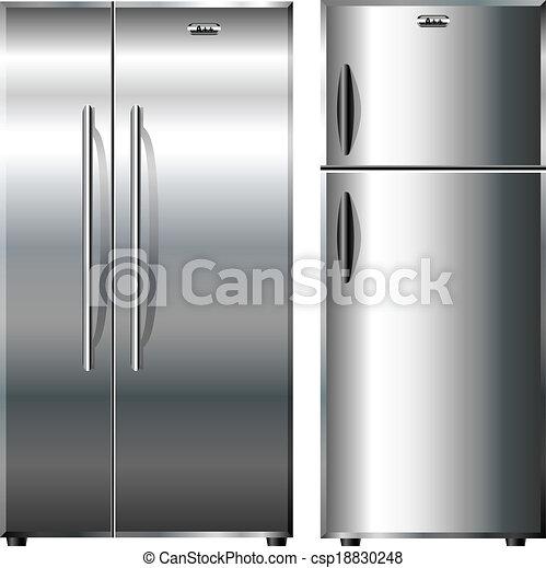 vecteur eps de m tallique r frig rateurs vue cuisines isol blanc csp18830248 recherchez. Black Bedroom Furniture Sets. Home Design Ideas