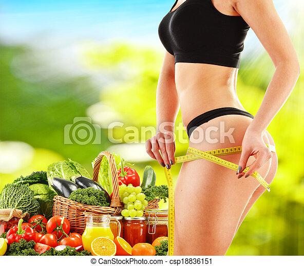 Dieting. Balanced diet based on raw organic vegetables - csp18836151