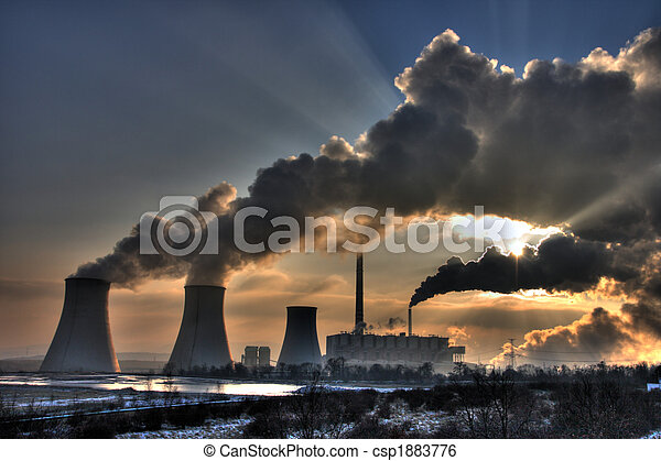 Coal powerplant view - chimneys and fumes - csp1883776