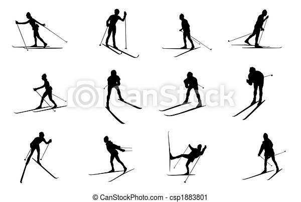 Crossed Skis Drawing Isolated Cross Country Skiing
