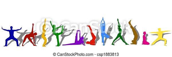 silhuetas, ioga, colorido - csp1883813