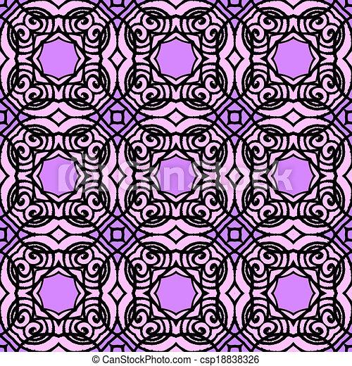 Vintage vector art deco pattern in purple - csp18838326