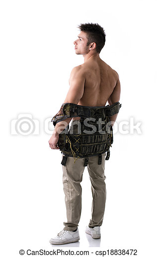 Muscular young man with military taking off vest - csp18838472