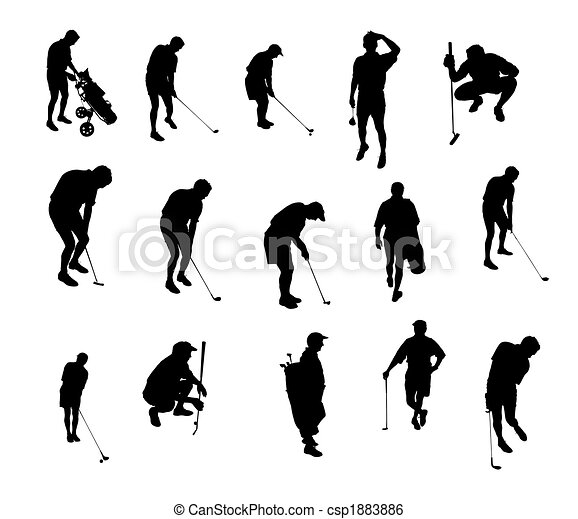 golf playing silhouettes - csp1883886