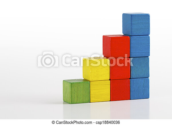 Toys blocks as step stair, multicolor wooden ladder building bricks over white background - csp18840036