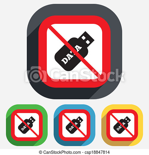 Vector Clip Art of No Usb Stick sign icon. Usb flash drive button ...