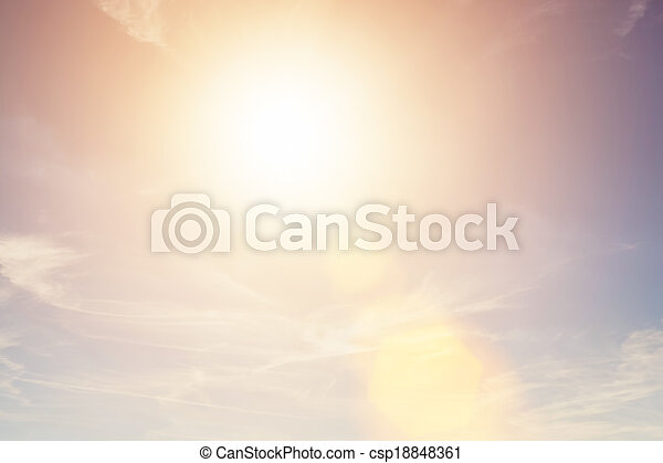 Sunny sky background in vintage retro style with sun flare