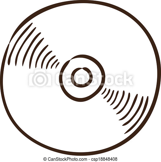Vector Clipart of CD or DVD symbol. - Isolated sketch icon ...