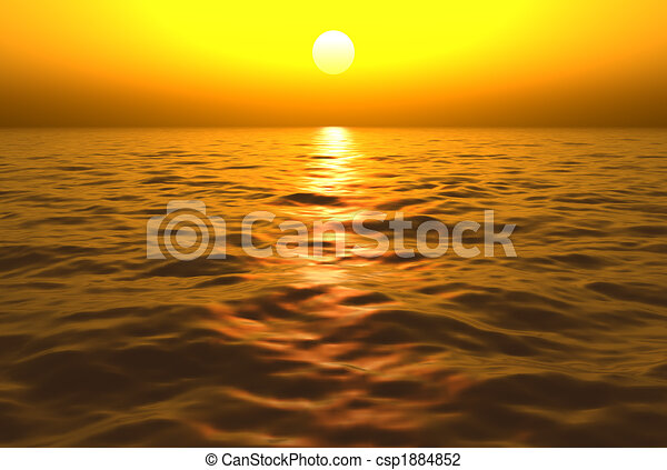 Sunset Over Water - csp1884852