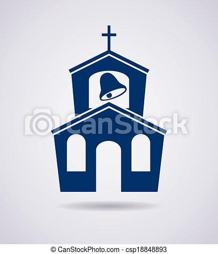 vector icon of church building - csp18848893