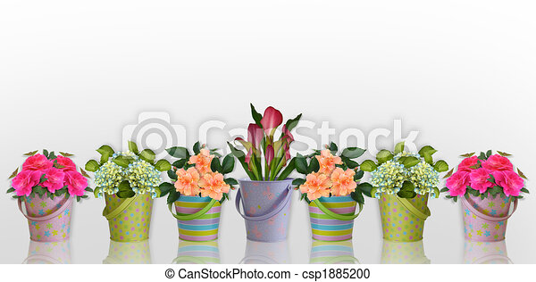 Floral border Flowers in colorful containers - csp1885200