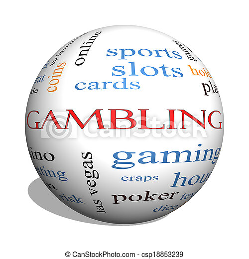 Gambling 3D sphere Word Cloud Concept - csp18853239