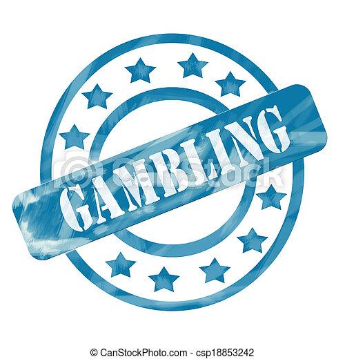 Blue Weathered Gambling Stamp Circles and Stars - csp18853242