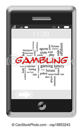 Gambling Word Cloud Concept on Touchscreen Phone - csp18853243