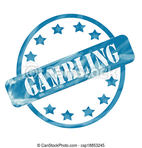 Blue Weathered Gambling Stamp Circle and Stars - csp18853245