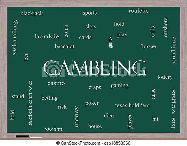 Gambling Word Cloud Concept on a Blackboard - csp18853366