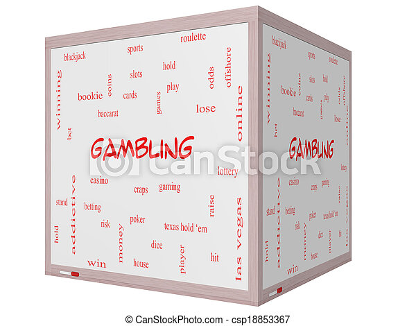 Gambling Word Cloud Concept on a 3D cube Whiteboard - csp18853367