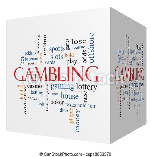 Gambling 3D cube Word Cloud Concept - csp18853370