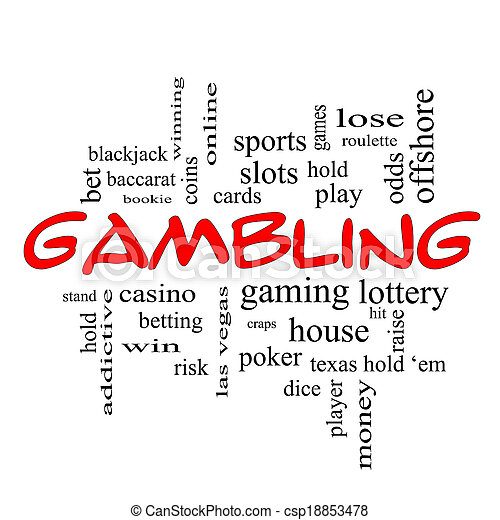 Gambling Word Cloud Concept in red caps - csp18853478