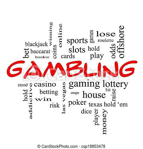 Gambling Word Cloud Concept in red caps - csp18853478