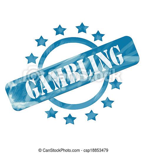 Blue Weathered Gambling Stamp Circle and Stars design - csp18853479