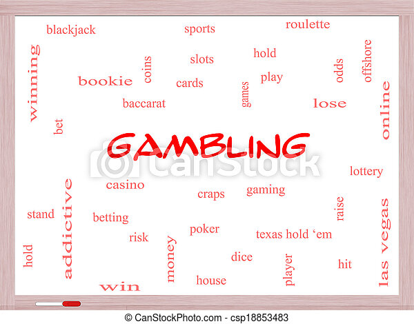 Gambling Word Cloud Concept on a Whiteboard - csp18853483