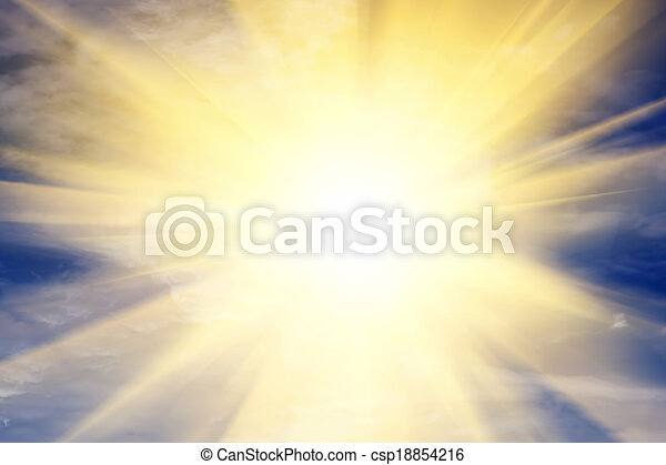 Explosion of light towards heaven, sun. Religion, God, providence. - csp18854216