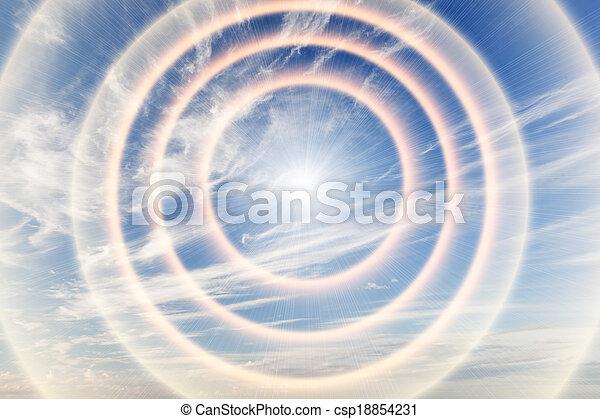 Tunnel of light towards heaven, sun. Religion, God, providence. - csp18854231