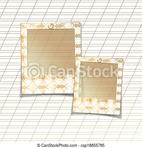 Slides with handmade ornaments for photos on white abstract background - csp18855785