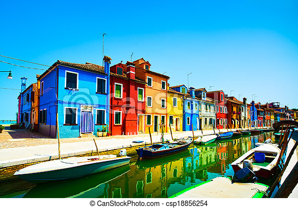 Venice landmark, Burano island canal, colorful houses and boats, Italy. Long exposure photography - csp18856254