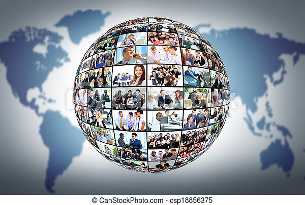 A globe is isolated on a white background with many different business people - csp18856375