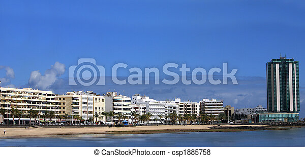 Panorama of the capital of Lanzarote, Arrecife, - csp1885758