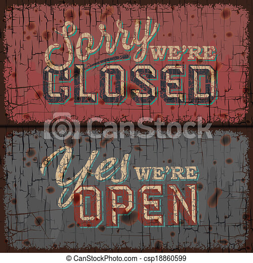 Open and Closed Sign - information retail store - csp18860599