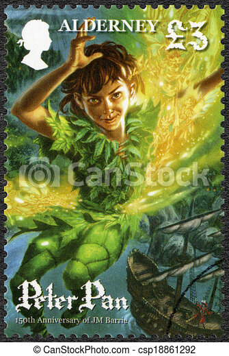 ALDERNEY - CIRCA 2010: A stamp printed in Alderney shows Scene from Peter Pan, by David Wyatt, 150th anniversary of the birth of JM Barrie, circa 2010 - csp18861292