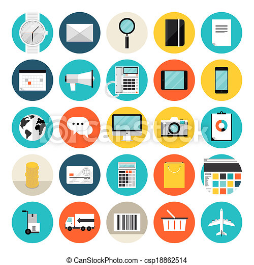 E-commerce and shopping flat icons - csp18862514