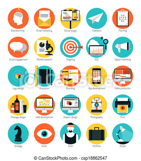 Marketing and design services flat icons set - csp18862547